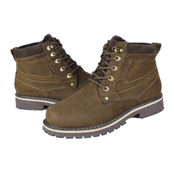 Men's Boots-PLUS SIZE Warmest Genuine Leather Men's Snow Boots