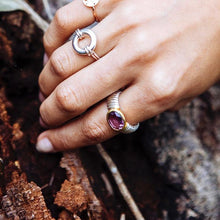 Sterling Silver Ring with Amethyst set in Gold.