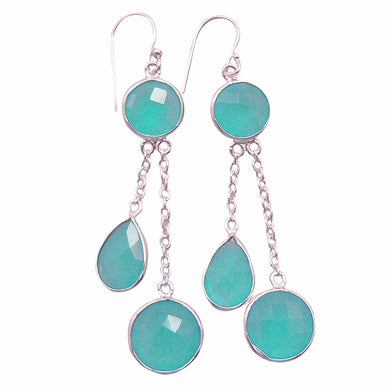 Stunning Earrings of Aqua Calcite