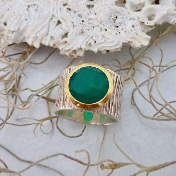 Green Onyx Silver ring
