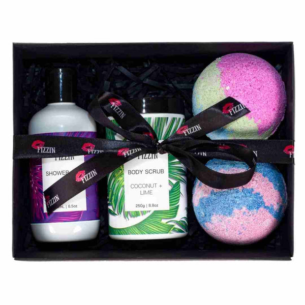 Body Scrub, Shower Gel, 2 x Bath Bombs