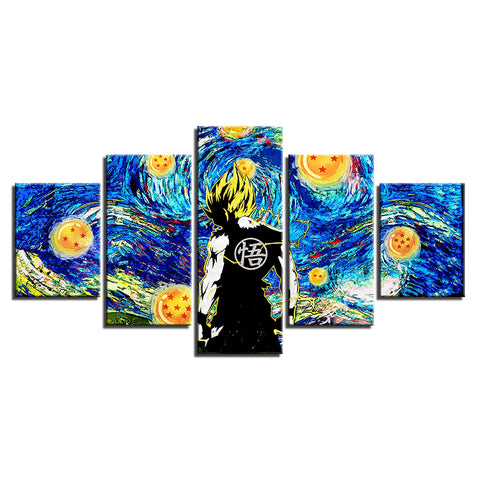 Canvas 5 pieces Dragon Ball San Goku Impressionism