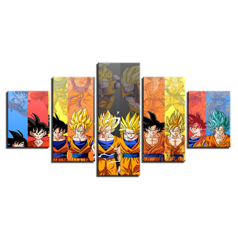 Canvas 5 pieces Dragon Ball San Goku identity transformation