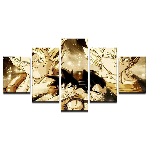 Canvas 5 pieces Dragon Ball the best saiyans