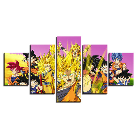 Canvas 5 pieces Dragon Ball San Goku Transformation skills