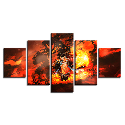 Canvas 5 pieces One Piece Fire Ace