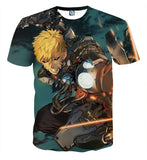 T-shirt One Punch Man Genos on fire
