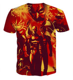 T-shirt One Punch Man Saitama Fire