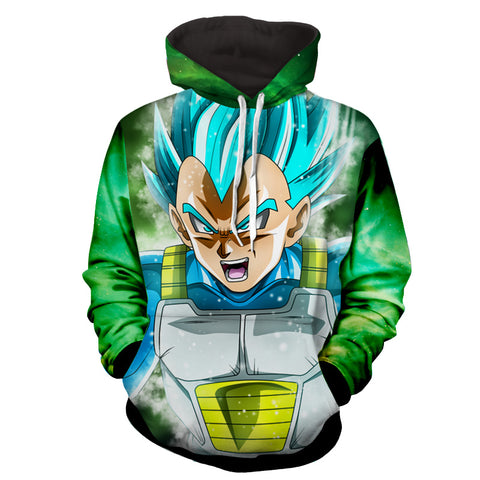 Hoodie Dragon Ball Cosmos Vegeta God Green color