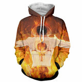 Hoodie Fire Fist Ace in flame 3D printed