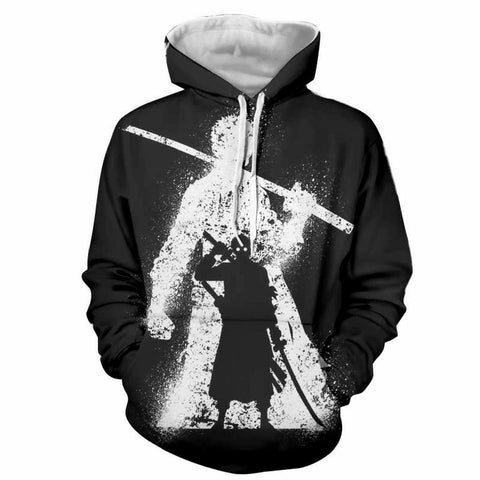 Hoodie Roronoa Zoro black and white 3D printed
