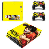 Luffy attacks on yellow background decal skin PS4
