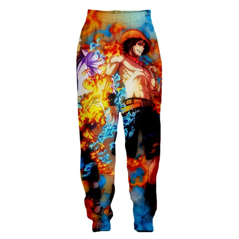 Streetwear Pants One Piece the fire of Ace