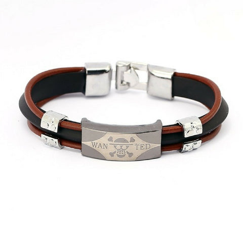 Bracelet Luffy brown three layer leather chain