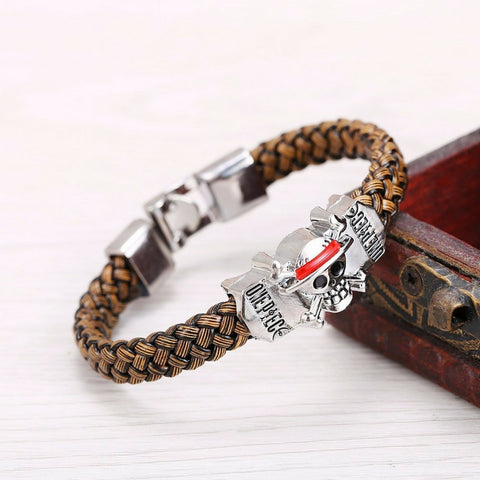 Bracelet Luffy flagship straw hat skeleton logo in leather