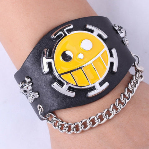 Bracelet logo leather punk: Team Trafalgar Law