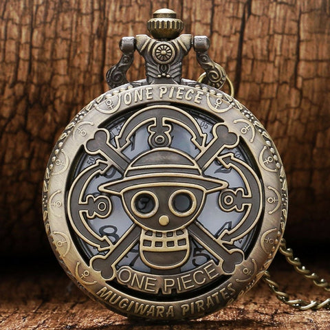 Pocket watch straw hat crew symbol copper vintage design