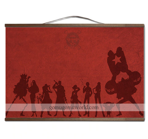 Poster canvas Mugiwara Crew red background wooden frame (12 x 18 inches)