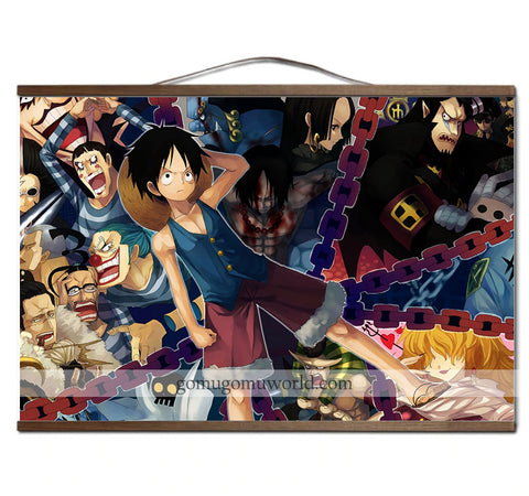 Poster canvas Impel down Luffy wooden frame (12 x 18 inches)