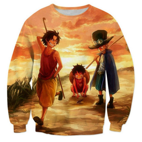 Sweater three young brothers in the sunset 3d printed