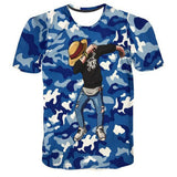 T-shirt Luffy dab dance on blue military camouflage short sleeves