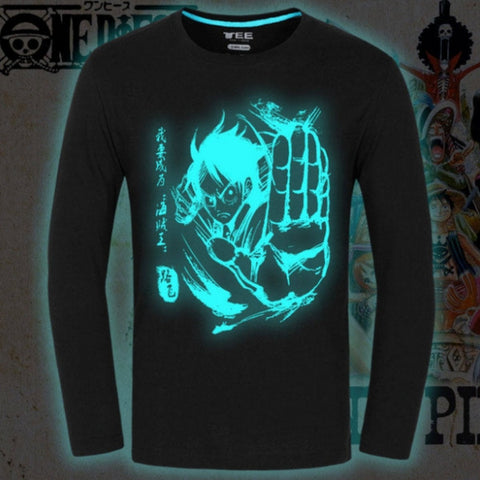 T-shirt Luffy fighting blue fluorescence long sleeves