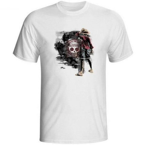 T-shirt Luffy drawing style printed short sleeves