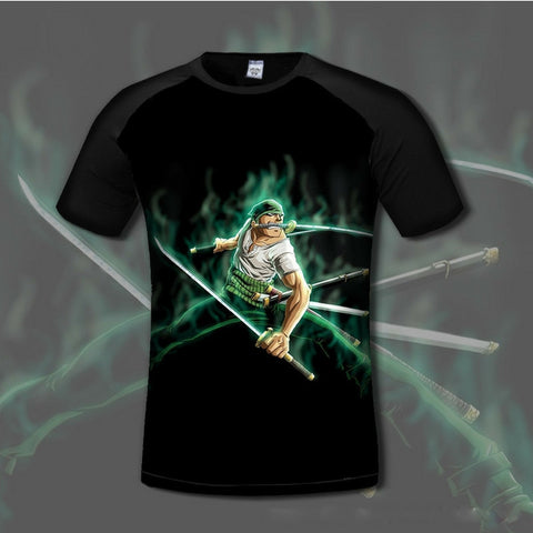 T-shirt Roronoa Zoro in combat 3D printed short sleeves