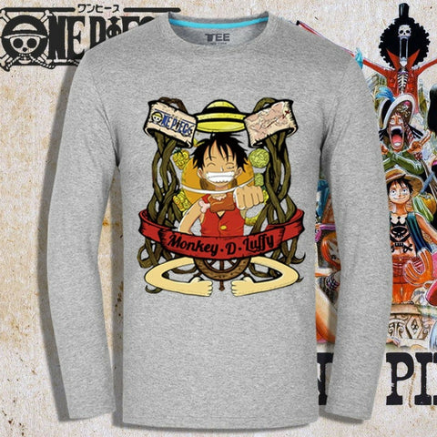 T-shirt Straw Hat Luffy printed long sleeves