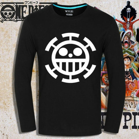 T-shirt Trafalgar Law logo printed long sleeves