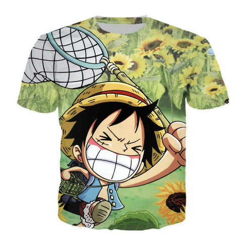 T-shirt funny Luffy in sunflower field 3D printed short sleeves