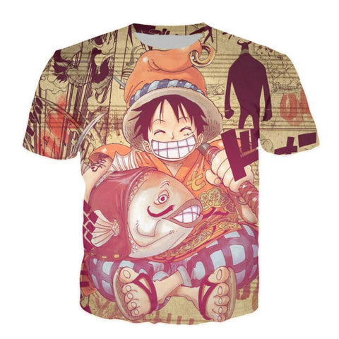 T-shirt Luffy the fisherman 3D printed short sleeves