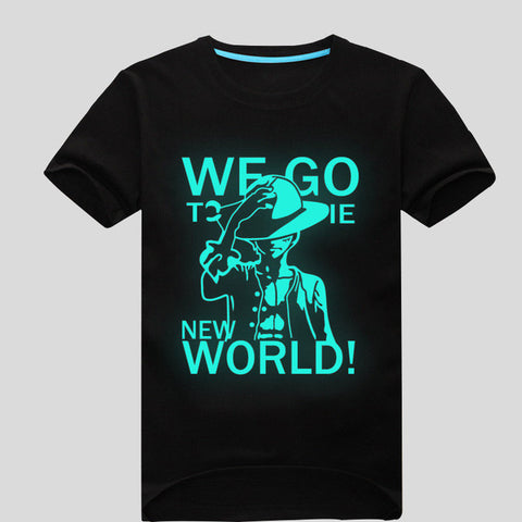 "T-shirt blue fluorescence Luffy ""New World"""