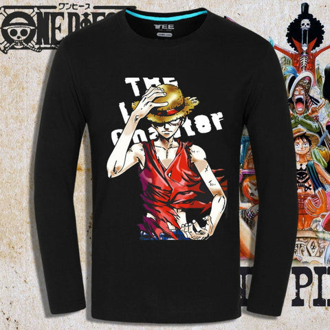 T-shirt serious Straw Hat Luffy printed long sleeves