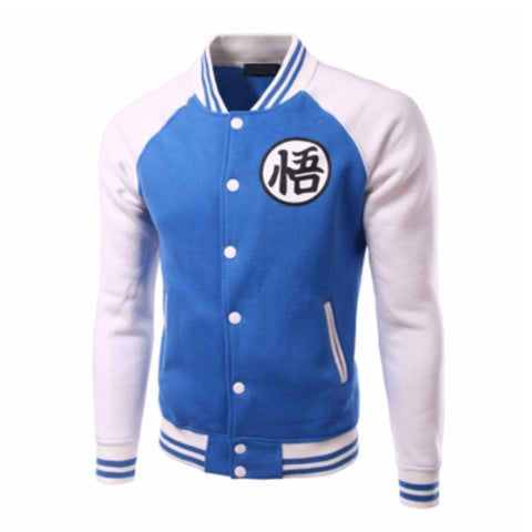 Jacket baseball inspiration dragon ball white and blue
