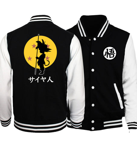 Black jacket baseball inspiration dragon ball saiyajin yellow