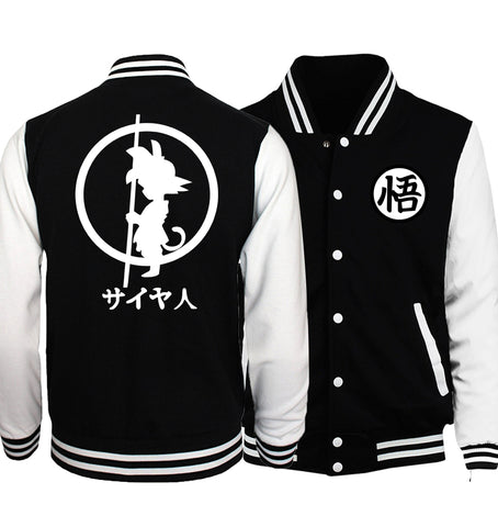 Black jacket baseball inspiration dragon ball saiyajin white