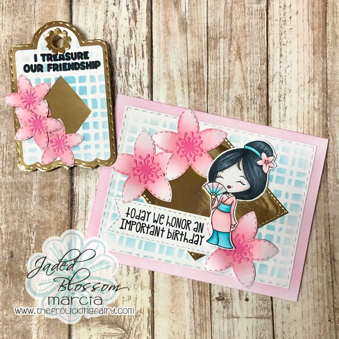 Peach Blossom Card and Tag