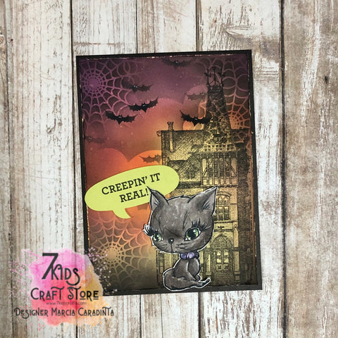 #thefrolickingfairy #7kidscraftstore #kittengems #nationalcatday #catsofinstagram #cardmaking #cardmaker #halloween #stampersanonymous #distressoxide #inkblending #stencil #spiderwebs #bats #spooky #haunted #hauntedhouse #halloweencard #doodlebugdesigns #creepinitreal #cardmakersofinstagram