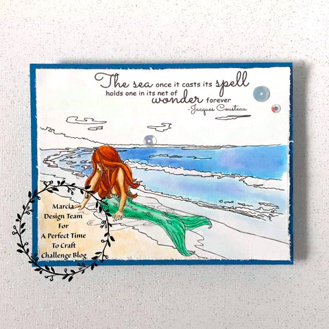 #thefrolickingfairy #apttc #aperfecttimetocraft #theartsystamper #mermaidwishes #mermaid #watercolor #jacquescousteau #ocean #thesea #cardchallenge #digitalstamp #digi #cardmaking #cardmaker