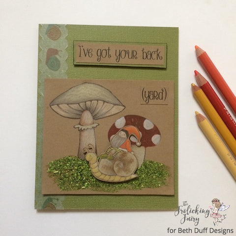 #thefrolickingfairy #bethduffdesigns #gotyourback #gotyourbackyard #backyard #gnomes #toadstool #love #family #snail #flitter #mossy #mushrooms #fungi #prismacolor #coloredpencils #handmade #handmadecards