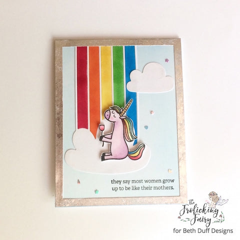 #thefrolickingfairy #bethduffdesigns #unicornfarts #waffleflower #rainbow #likemother #likedaughter #mothersday #mother #tonicstudios #gildingflakes #unicorn #copicmarkers #papercraft #handmade