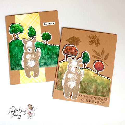 #thefrolickingfairy #concordand9th #hitherebear #catherinepooler #watercolor #arteza #realbrushpens #citystacks #leaves #autumn #spring #bear #autumn #autumncolors #handmade #handmadecards