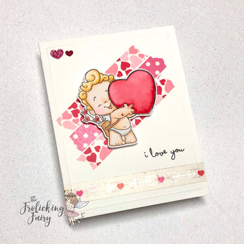 #thefrolickingfairy #sketchsaturday #cardchallenge #sketchchallenge #ccdesignsrs #cupid #iloveyou #washitape #watercolor #love #washi #hearts #cardmaking #cardmaker #papercraft