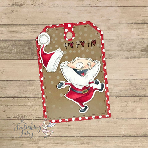 #thefrolickingfairy #ccdesignsrs #ccdesigns #hohoho #santa #crazysanta #santadance #merrychristmas #christmas #holidays #holidaytag #christmastag #jadedblossom #luggagetag #alcoholmarkers #spectrumnoir #stencil #snowfall #cardchallenge #craftyfestivalofchristmas #craftychristmasclub #cardmakersofinstagram