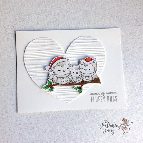 #thefrolickingfairy #craftindesertdivas #whoolovesyou #owl #fluffyhugs #heroarts #woodembossing #cas #cleanandsimple #casology #holly #snowowls #handmade #copiccoloring