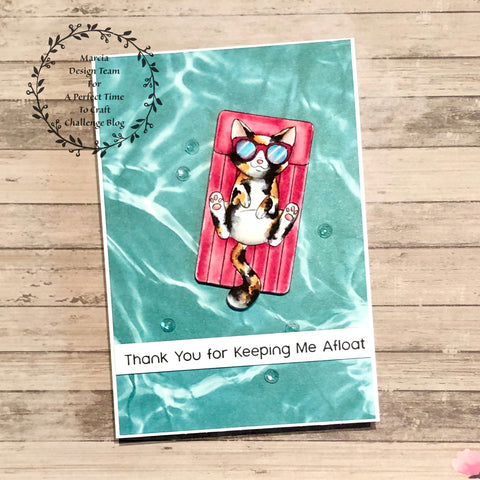 #thefrolickingfairy #charliesstamps #apttc #aperfecttimetocraft #cardchallenge #challengeteam #kitty #cat #floaty #keepingmeafloat #thankyou #karinmarkers #watercolor #summer #summertime #floatingby #bythepool #catchingrays #cardmaking #cardmakersofig #cardmaker