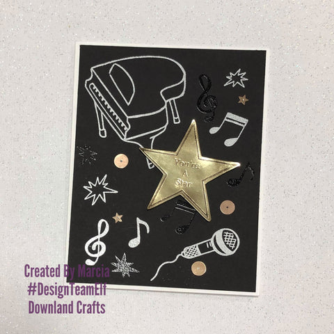 #thefrolickingfairy #downlandcrafts #designteamelf #musical #youreastar #singing #performance #musicalperformance #breakaleg #goldenstar #papercraft #handmade #cardmaking #cardmaker