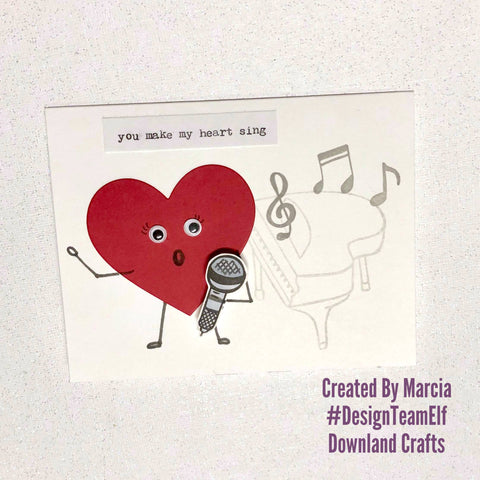 #thefrolickingfairy #downlandcrafts #designteamelf #musical #youmakemyheartsing #love #valentine #cas #cleanandsimple #music #singing #silly #papercraft #googlyeyes #cardmaking #cardmaker