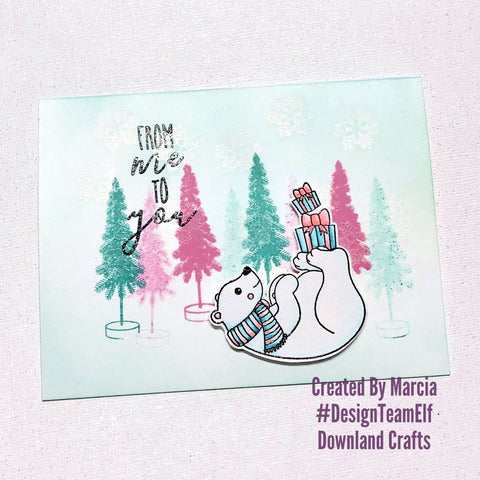 #thefrolickingfairy #downlandcrafts #designteamelf #polarfun #polarbear #vintagechristmas #pinkandteal #concordand9th #frommetoyou #arteza #watercolor #snowflakes #christmas #holidays #cardmaking #cardmaker